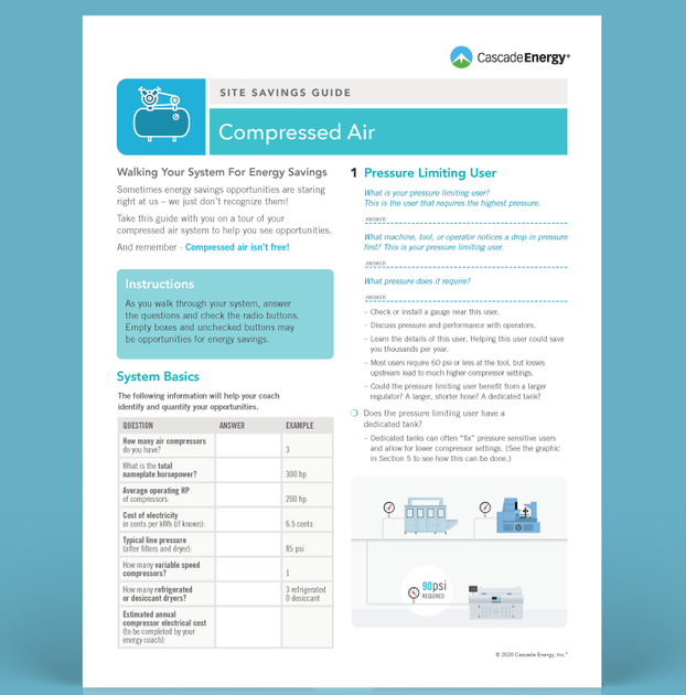 photo of Cascade Energy compressed air savings guide